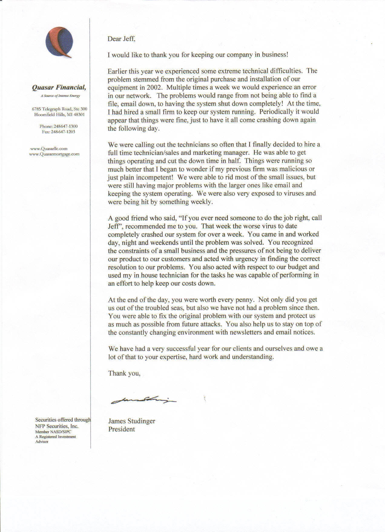 letter of recoomendation from Qausar Financial